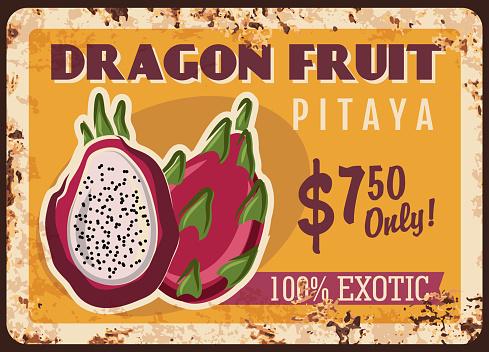 Dragon fruit pitaya rusty metal plate with price