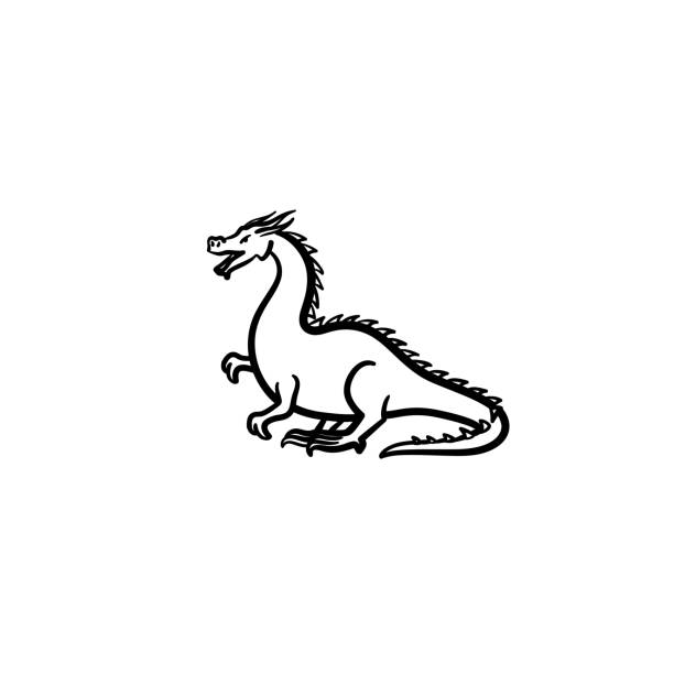 dragon hand drawn sketch icon vector art illustration