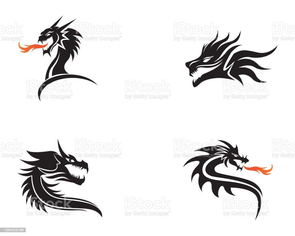 Drachen Kopf Flach Farbe Logo Vorlage Vektorillustration Stock Vektor Art Und Mehr Bilder Von China Istock