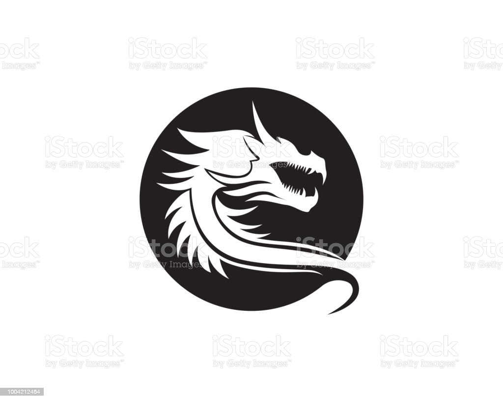 dragon head flat color logo template vector illustration stock