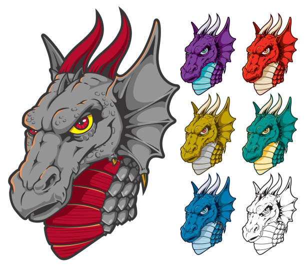 Dragon Head Mascot in Assorted Colors