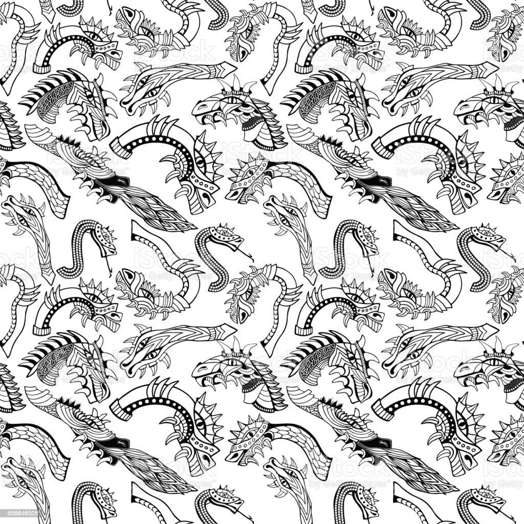 Cabezales de Dragon - ilustración de arte vectorial