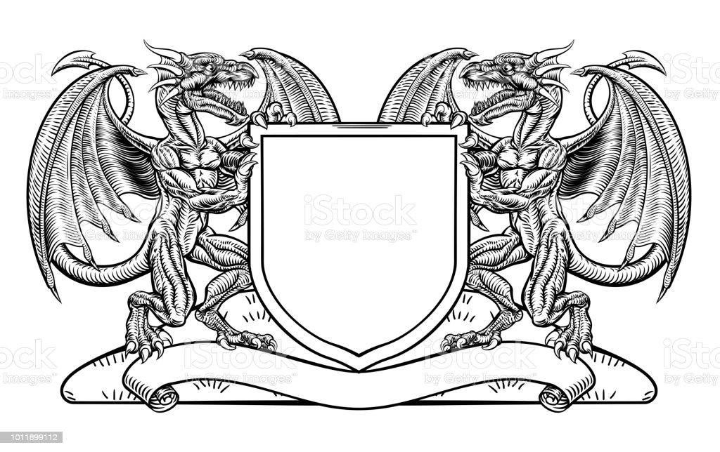 Dragon Crest de heráldica brasão escudo emblema - ilustração de arte em vetor