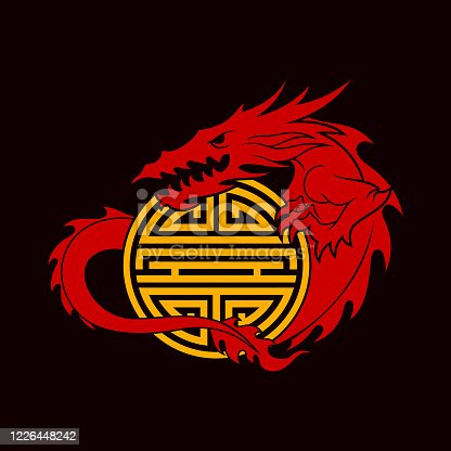 Red Dragon holds a golden double happiness sign - cut out vector icon