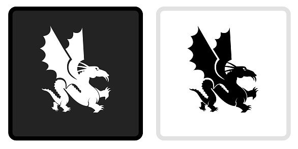 Dragon Icon on  Black Button with White Rollover