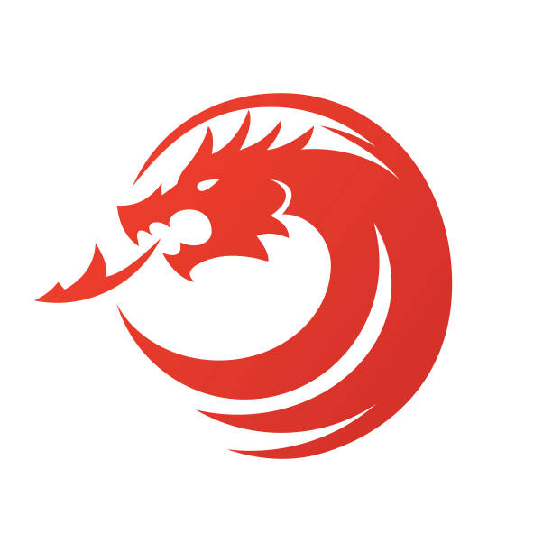 dragon icon - vektör çizim - dragon stock illustrations