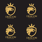 Dragon, Animal, Shield, Crown