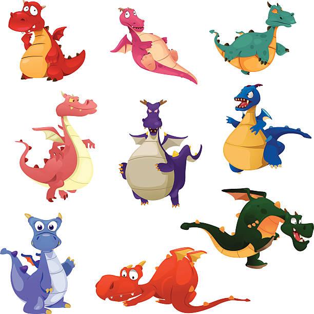 illustrations, cliparts, dessins animés et icônes de icônes du dragon - dragon