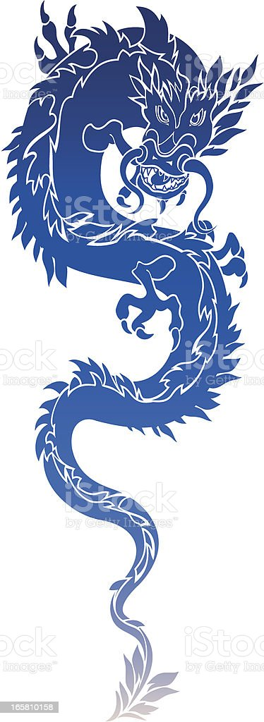 Dragon in blue color vector art illustration