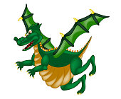Dragon in green and yellow color