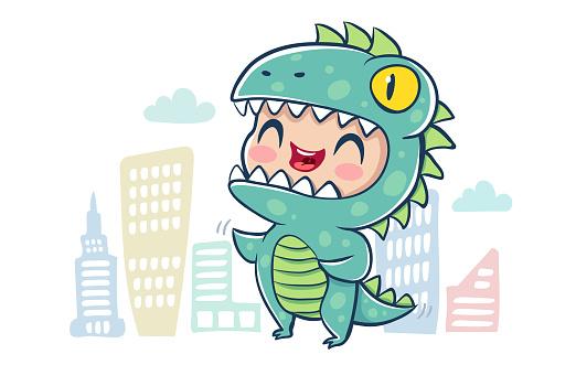 Dragon in kawaii style