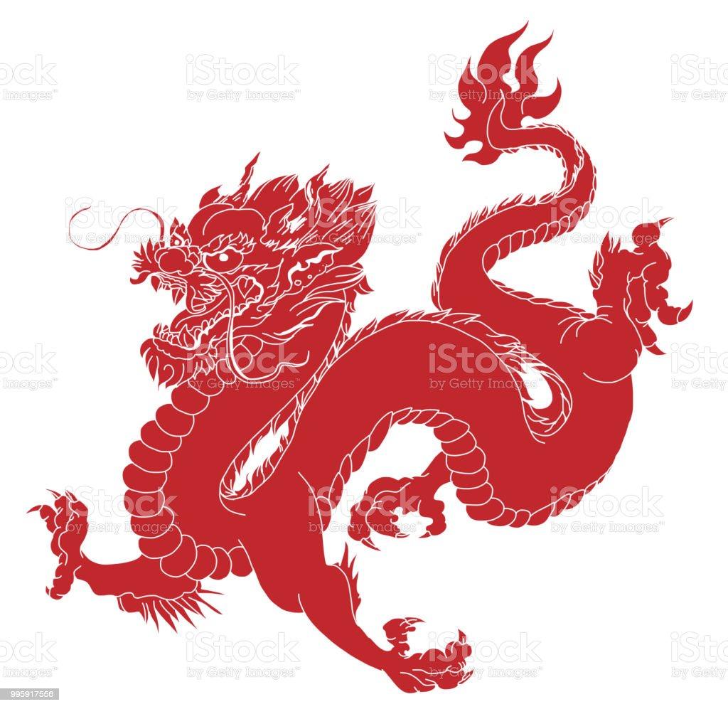 Dragon Isoler Vecteur Tatouage Dragon Chinois Dragon Japonais
