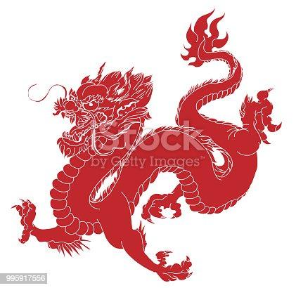 Dragon isoler vecteur tatouage dragon chinois dragon japonais traditionnel cliparts vectoriels - Dragon japonais ...