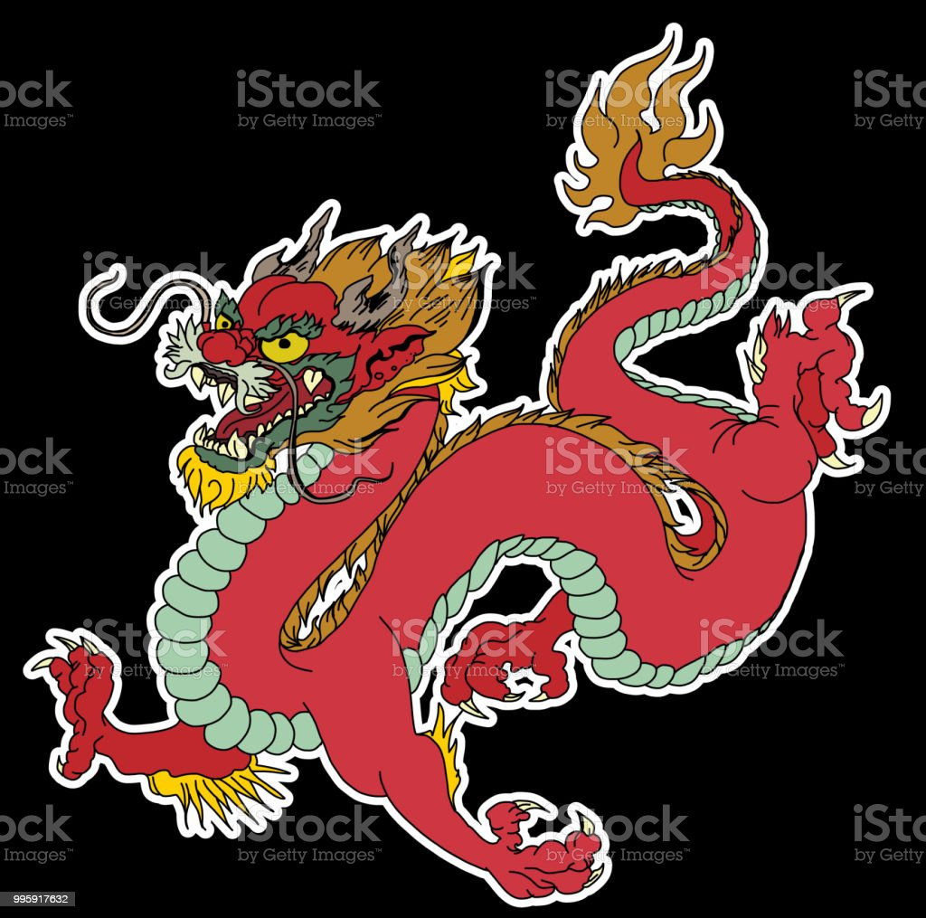 Dragon Isolate Vectorchinese Dragon Tattootraditional