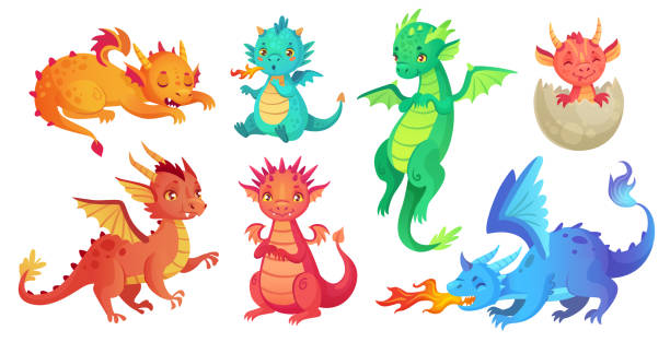 dragon kids. fantasy baby dragons, funny fairytale reptile and medieval legends fire breathing serpent cartoon isolated vector set - dragon stock illustrations
