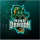 Illustration of Dragon king mascot logo design