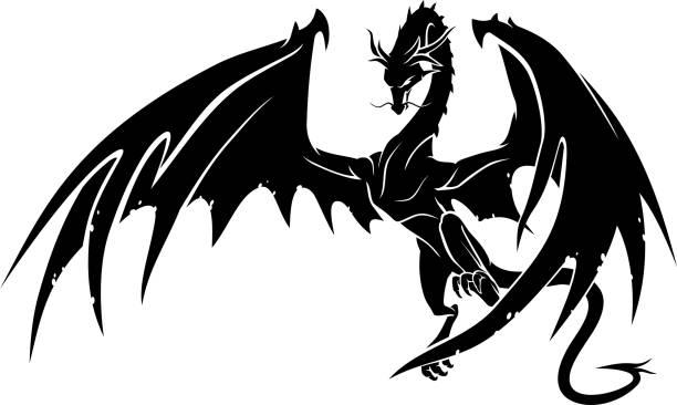 Dragon Lands Isolated vector illustration of legendary black dragon dragon stock illustrations