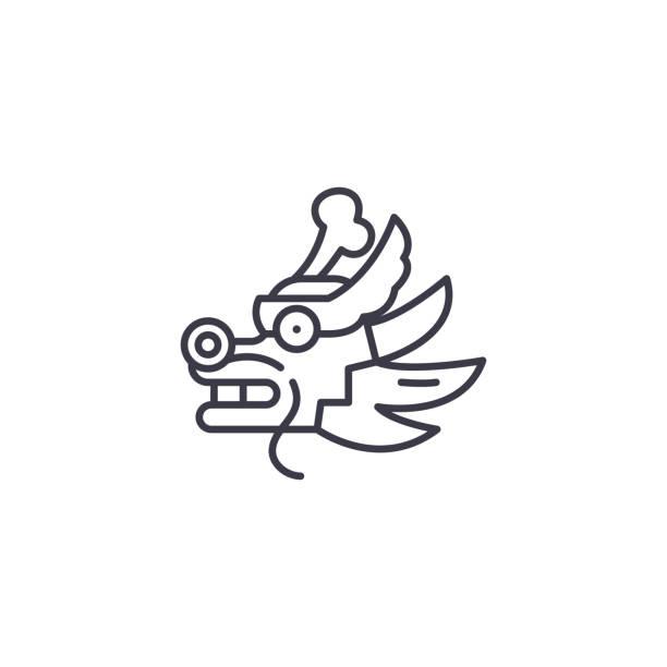 龍線形圖示概念。龍線向量符號, 符號, 插圖。向量藝術插圖