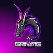 E-sports team logo template with Dragon vector illustration