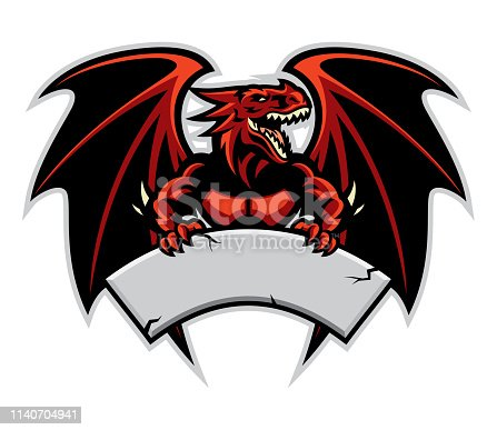 dragon mascot hold the blank sign for text space