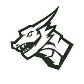 Dragon mascot logo silhouette version. Dragon in sport style, mascot logo illustration design vector