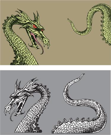 Dragon, Monster, Serpent, Medieval Frame Parts