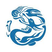 Dragon playing beads,Chinese style pattern