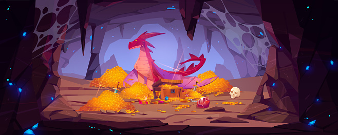 Dragon protect gold pile in cave fantasy character