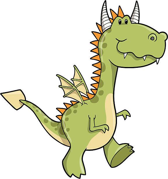ilustrações de stock, clip art, desenhos animados e ícones de réptil vector dragão - fofo descrição física