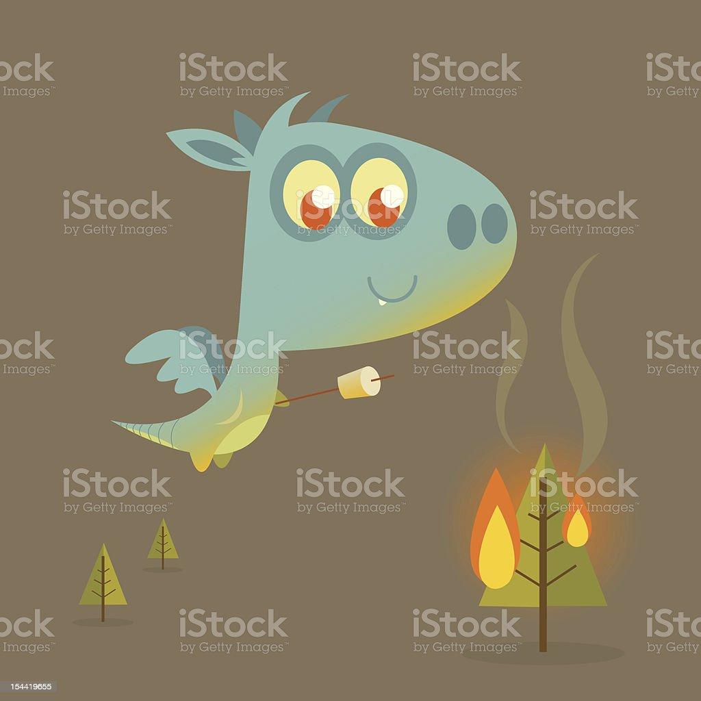 Dragon Roasting Marshmallows vector art illustration