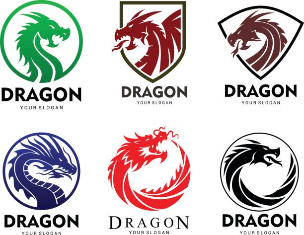dragon seti - dragon stock illustrations