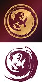 Dragon sign in two variants on different layers.