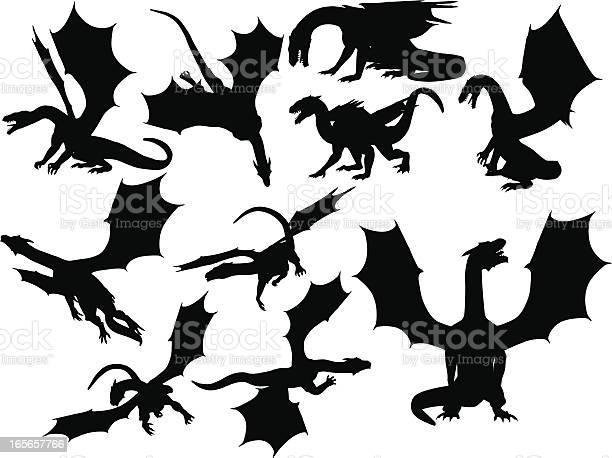 Dragon silhouette collection vector id165657766?b=1&k=6&m=165657766&s=612x612&h=wji7yqqv iexnjojjk3w 3hap e2pvq19zym5sq5v6u=