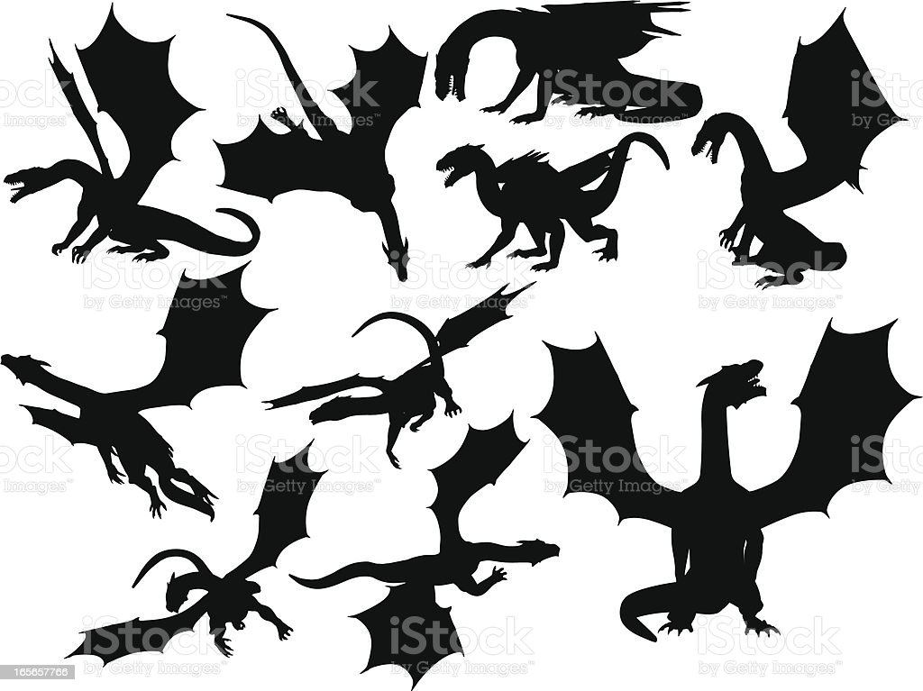 Dragon Silhouette Collection vector art illustration