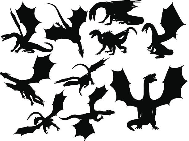dragon silhouette collection - dragon stock illustrations