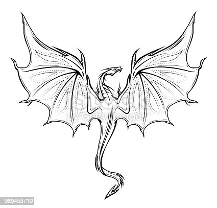Dragon Silhouette In Black And White Stock Vector Art ...