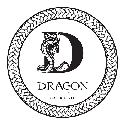 Dragon silhouette inside capital letter D. Elegant Gothic Dragon Logo with tattoo element. Heraldic symbol beast ancient mythology for logotype, emblem, monogram, icon, business card, brand name.