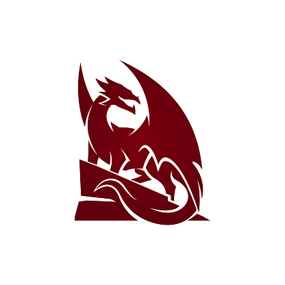 Dragon silhouette on hill cut out vector icon