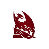 Winged Dragon silhouette on hill cut out vector icon
