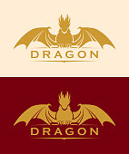 Elegant dragon vector silhouette