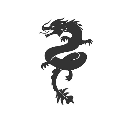 Dragon silhouette vector illustration. Black and white asian chinese traditional animal . Isolated on white background