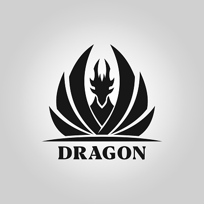 Dragon silhouette with spread wings - vector icon