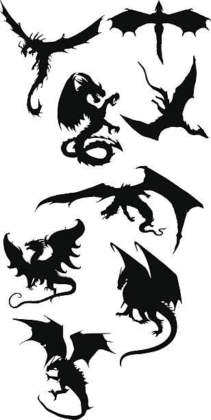 dragon silhouettes - dragon stock illustrations, clip art, cartoons, & icons