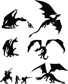 Silhouettes of Dragons in various poses. Some in flight some sitting with young. Interaction scene with medieval warriors. One with a hand that can rest on any text or header.  Click to see more[url=http://www.istockphoto.com/file_search.php?action=file&lightboxID=4086703] Fantasy[/url] images
