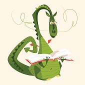 Dragon sitting and reading a book. Diada de Sant Jordi (the Saint George's Day). Traditional festival in Catalonia, Spain. Vector illustration.