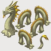 Dragon snake head and body elements