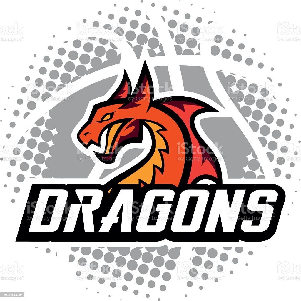 dragon sport logo basketball design stock vector art