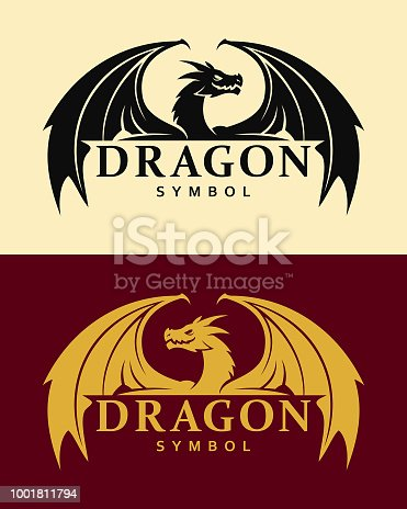 Vector silhouette of dragon symbol with replaceable text part