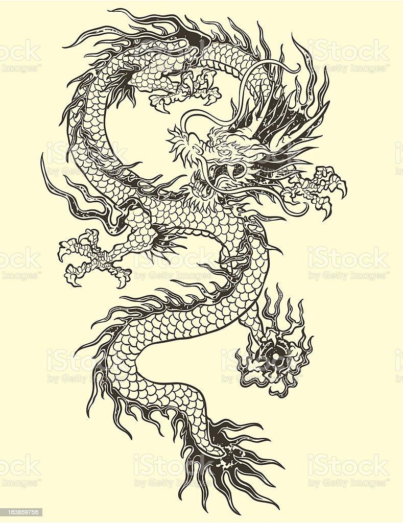 Dragones tatuaje medio - ilustración de arte vectorial