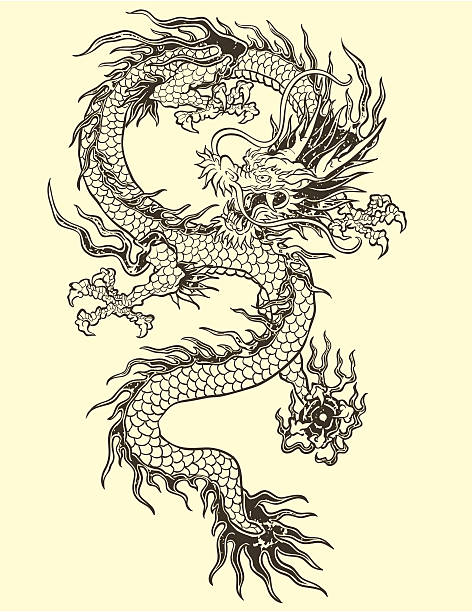 Tatouage de Dragon Illustration - Illustration vectorielle